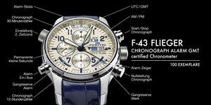 F-43 FLIEGER CHRONOGRAPH ALARM GMT certified...